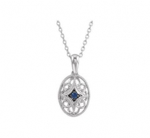 Sterling Silver Blue Sapphire Necklace