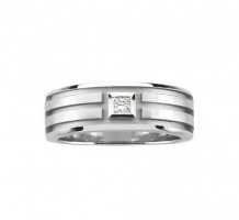 14KT White Gold 8mm Mens Diamond Wedding Band