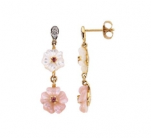 Pink Tourmaline Mother of Pearl and Diamond Earrings
