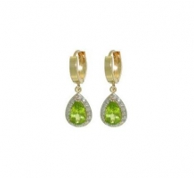 14KT Yellow Gold Peridot and Diamonds Earrings0