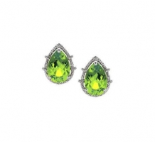 14KT White Gold Peridot and Diamonds Stud Earrings