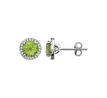 14KT White Gold Peridot 1/8 Diamond Earrings