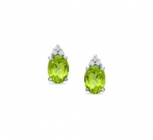 14KT White Gold Peridot and Diamond Earrings