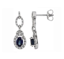 1-4 CT Blue Sapphire and Diamond Earrings