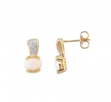 14kt Gold Opal and Diamond Earrings