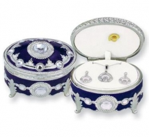 Blue Enameled Silver-tone Oval Musical Pewter Box