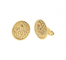 14KT Yellow Gold Plated 3 Letter Script Monogram Cuff Links