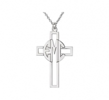 3 Letter Block Monogram Cross Necklace