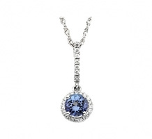 14kt White Gold Tanzanite and Diamond Necklace