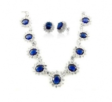 14KT White Gold Blue Sapphire Necklace and Earrings Set