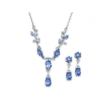Blue Sapphire Necklace and Earrings Set