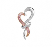 Genuine Pink Sapphire Heart Necklace