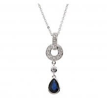 Genuine Blue Sapphire and Diamond Necklace