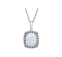 Created Opal and Diamond Necklace