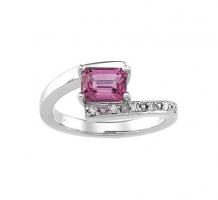 Octagon Pink Tourmaline and Diamond Ring