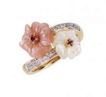 Genuine Pink Tourmaline Mother of Pearl and Diamond Ring