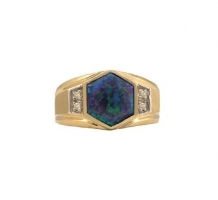 Mens Hexagon Shape Opal and Diamond Ring