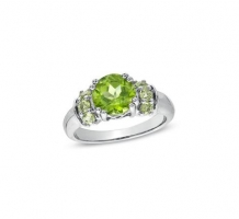 14KT White Gold Peridot Ring