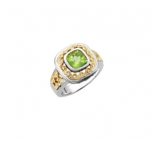 Two Tone Genuine Peridot and Diamond Ring