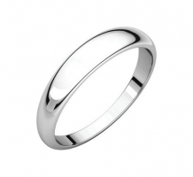 Platinum Half Round Tapered Wedding Band