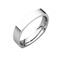 14KT White Gold Square Comfort Fit Wedding Band