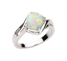 Genuine Opal and Diamond Ring