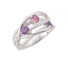 Genuine Amethyst and Pink Tourmaline Ring
