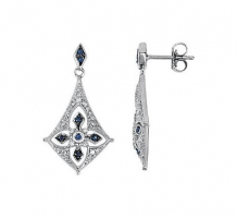 Sterling Silver Blue Sapphire and Diamond Earrings