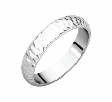 14KT White Gold Half Round Tapered Band