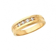 14KT Yellow Gold Mens Diamond Wedding Ring